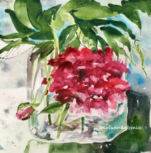 "First Peony at the Depot, 12 x 12"" transparent watercolor on paper"