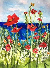 "Poppies at the Lake, 14 x 11"" transparent watercolor on paper"