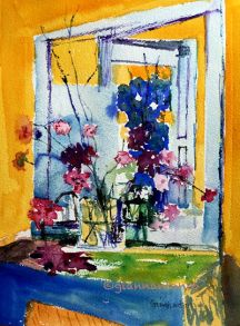 After Flowers on a Fireplace in Clayes (Vuillard), 9 x 12 watercolor on paper