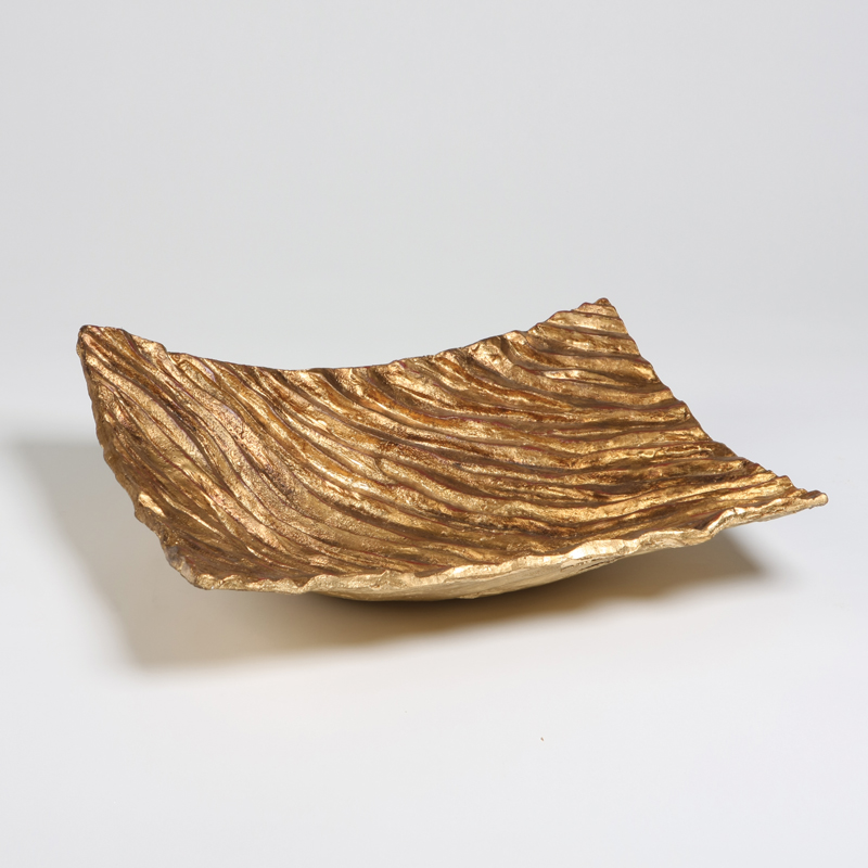 Gold Waves Square Dish, Studio A