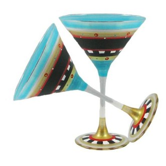 Mosaic Chalk Martini Glass (Set of 2), Golden Hill Studio (Available via Wayfair)