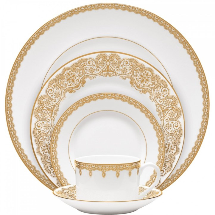 Lismore Lace Gold 5-Piece Place Setting, Waterford
