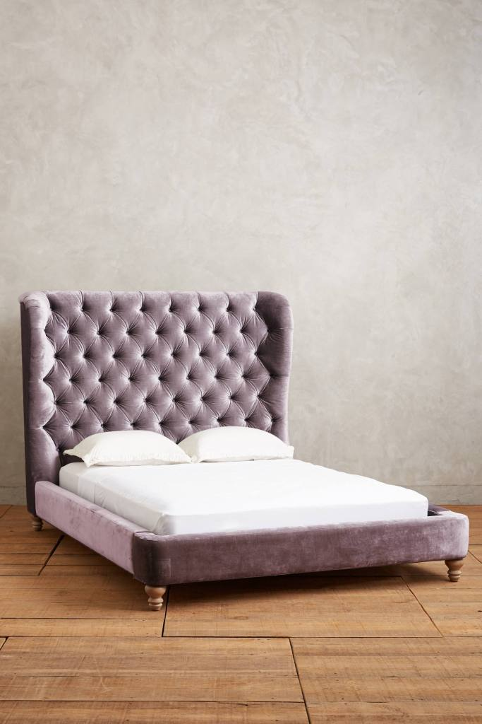 Velvet Tufted Wingback Bed, Anthropologie