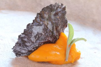 squash with candied purple cabbage and sage