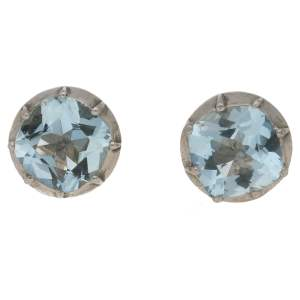 Aquamarine Stud Earrings in antique settings