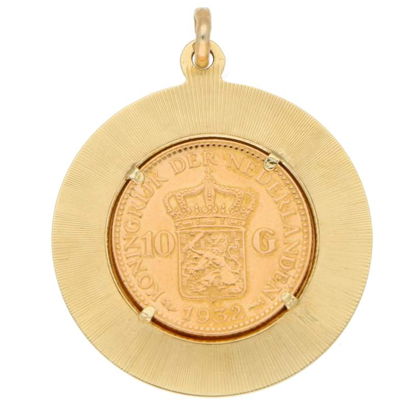 Netherlands 10 Gulden Coin Medallion Pendant in Yellow Gold