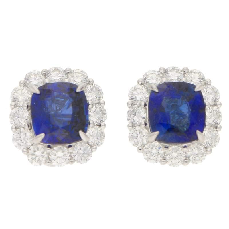 Sapphire and Diamond Cluster Stud Clip Earrings Platinum