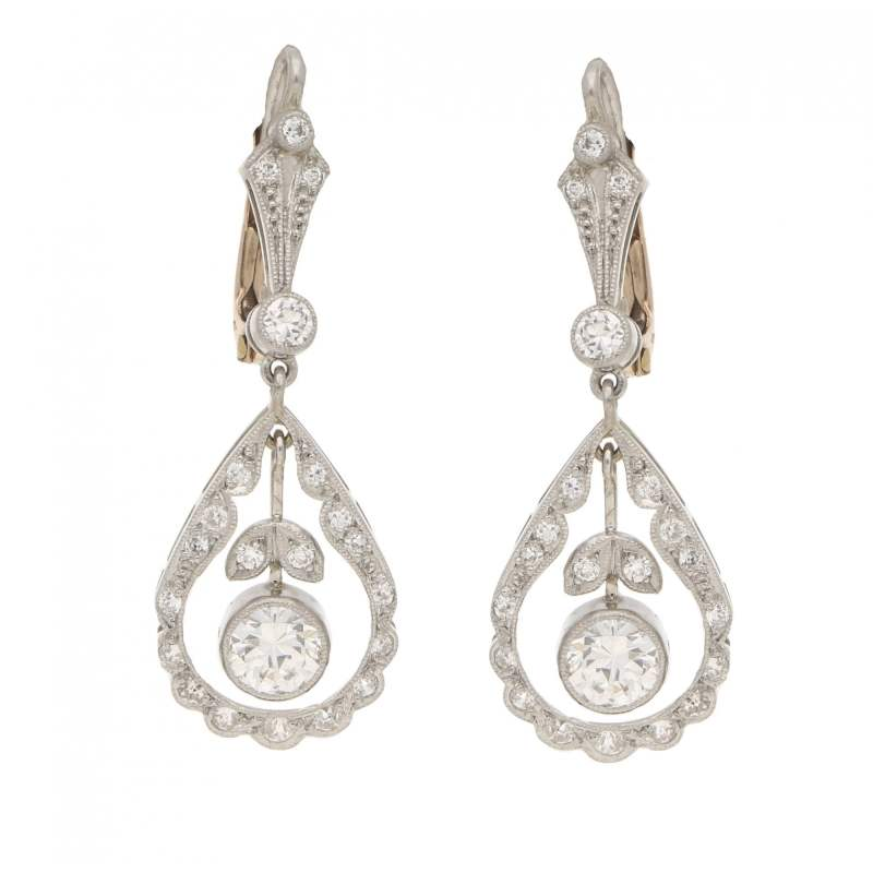 Edwardian style diamond garland pendent earrings
