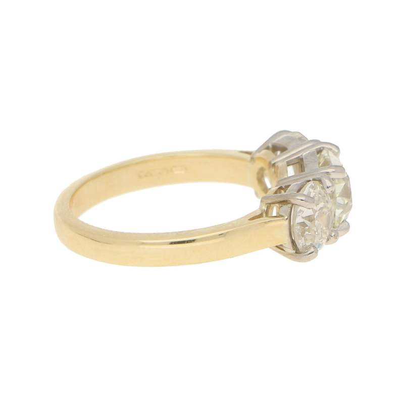3.06ct Three-Stone Diamond Ring in Yellow and White Gold