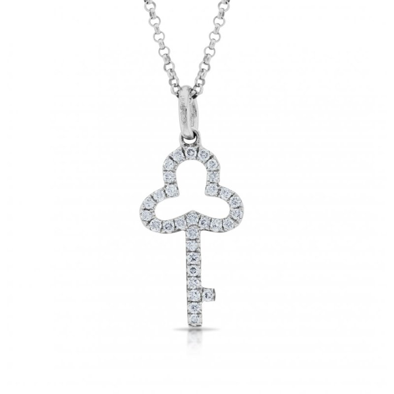 An 18ct white gold diamond set key pendant on a chain
