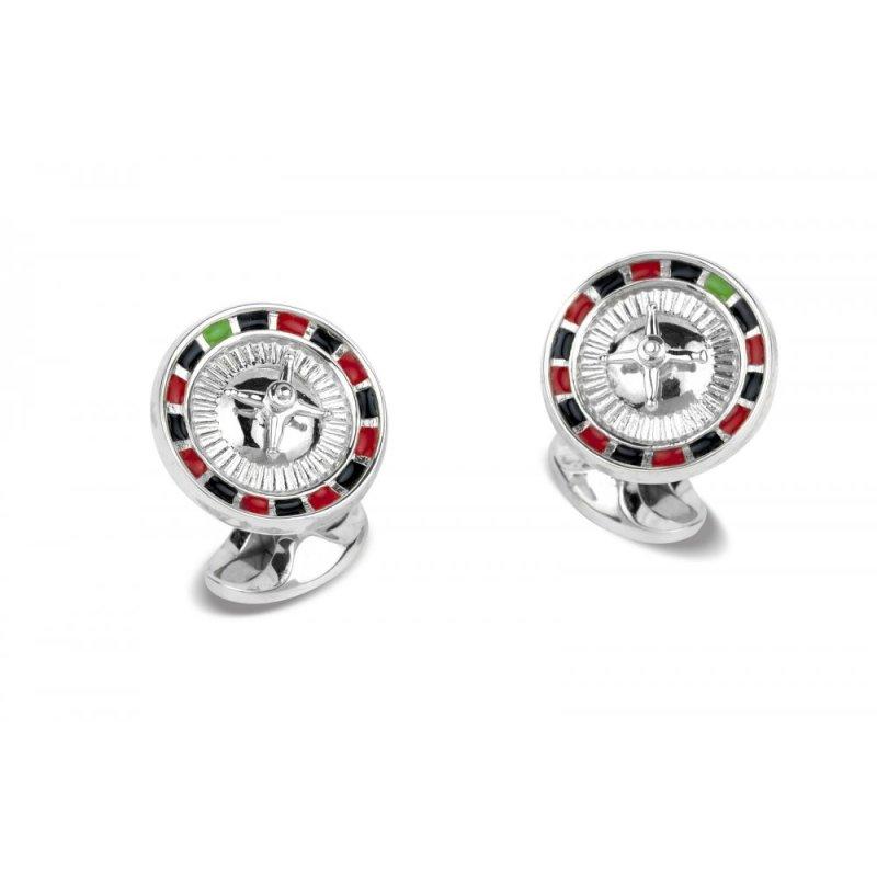 Sterling silver and enamel roulette wheel swivel back cufflinks