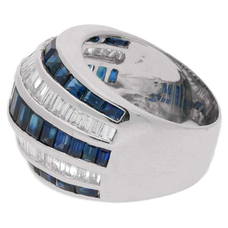 Sapphire diamond five row dress ring set in platinum