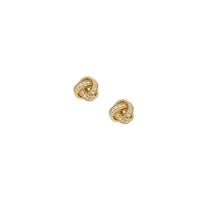 18k Gold and Diamond Knot Earrings