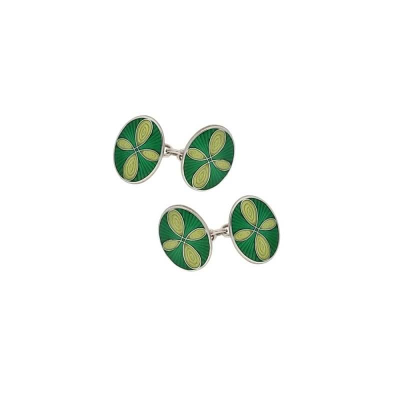 Green enamel cufflinks in silver