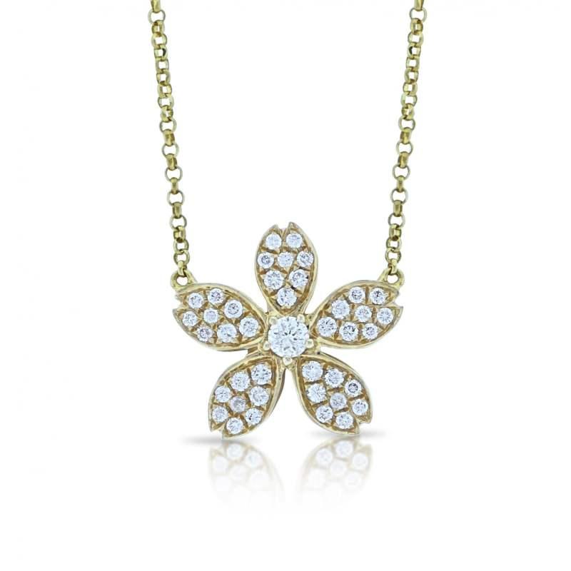 18ct yellow gold diamond floral pendant