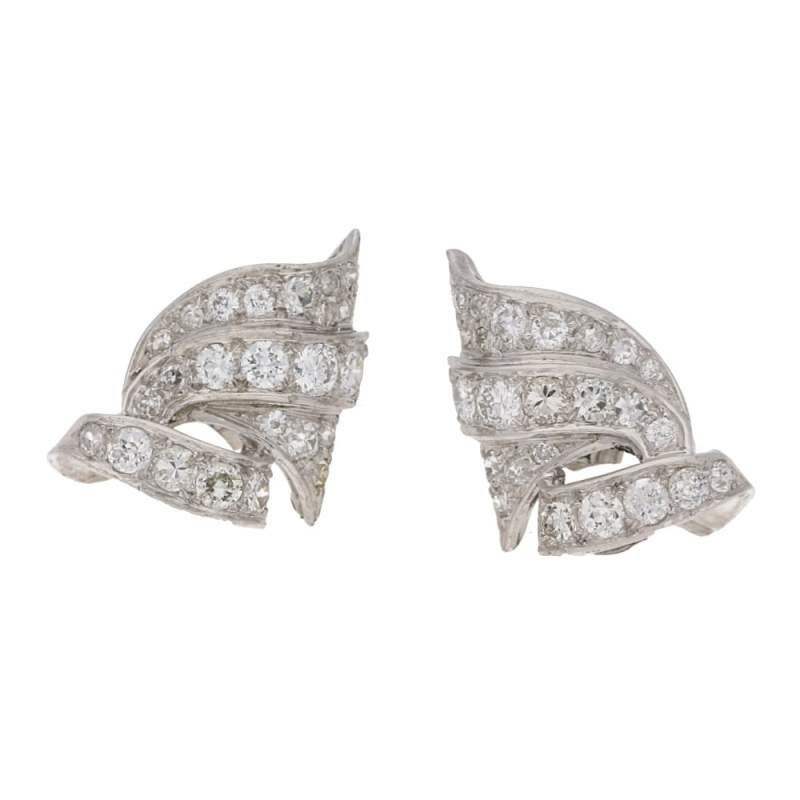 Art Deco Style Old Mine Cut Diamond Scroll Earrings