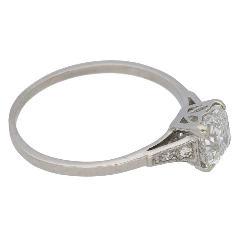Art Deco Asscher cut diamond engagement ring in platinum