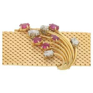 1960's ruby diamond gold bracelet