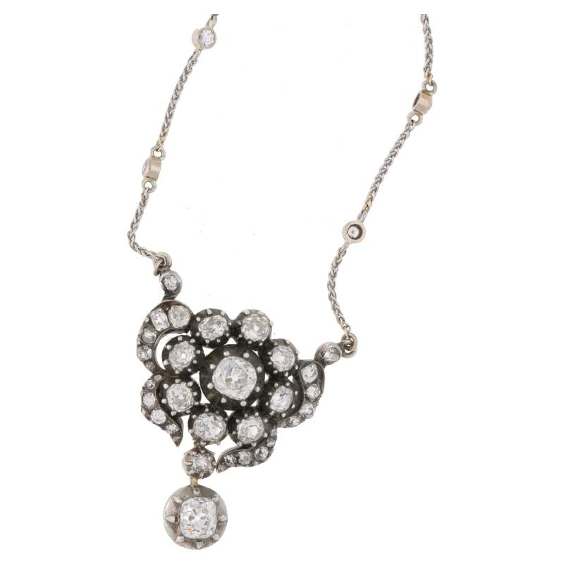 Victorian Floral Diamond Necklace in Silver-on-Gold
