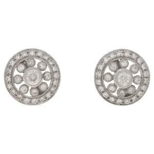 18ct white gold diamond set cluster ear studs