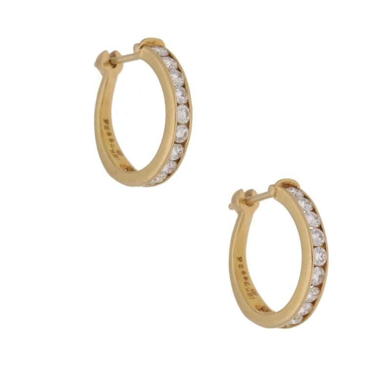 18k yellow gold and diamond hoop earrings