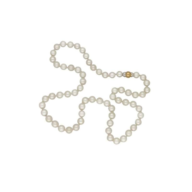 Strand of cultured pearls on an 18ct gold ball clasp