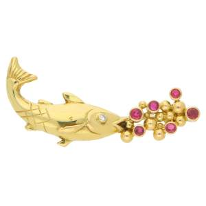1990s Mecan Elde Ruby Diamond Trout Brooch Yellow Gold, French