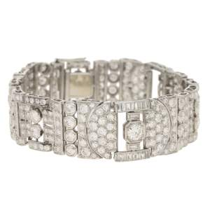 Art Deco Diamond Panel Bracelet in Platinum, 1930s