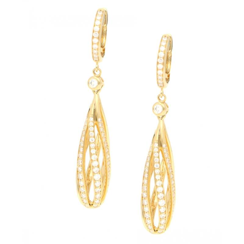Diamond Openwork Spiral Drop Earrings in Yellow Gold