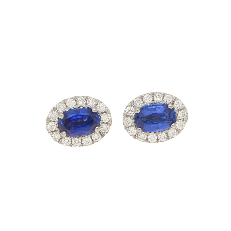 Sapphire and Diamond Oval Halo Earrings in White Gold