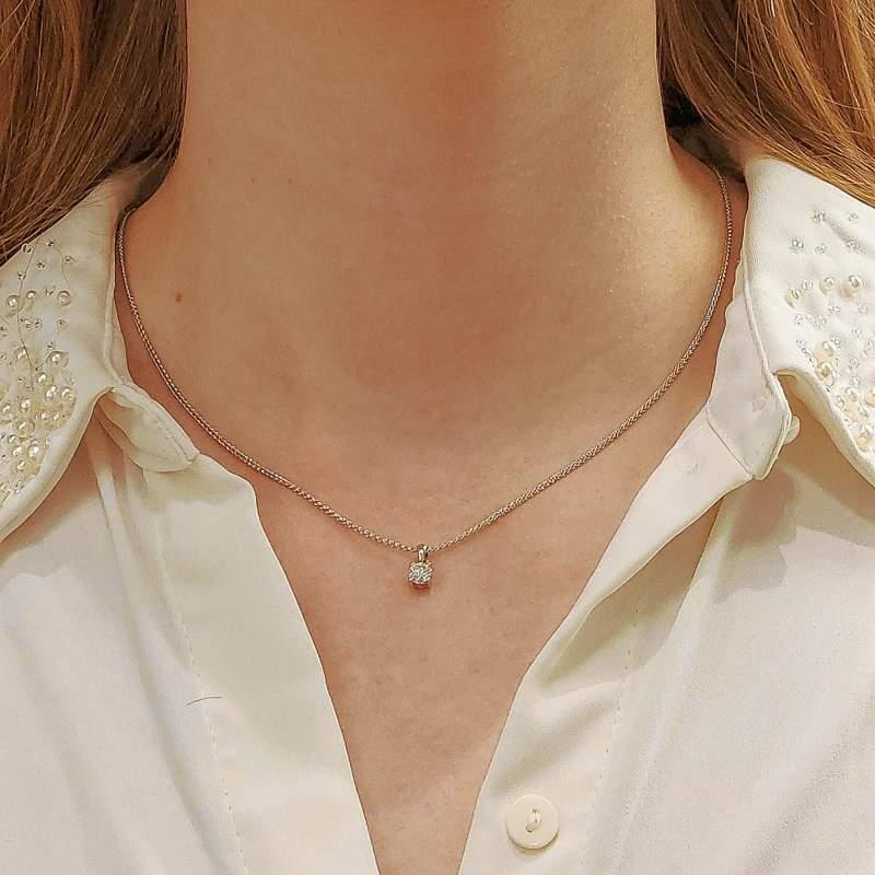 18ct gold round brilliant cut diamond pendant