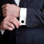 9k gold round black enamel chain link cufflinks