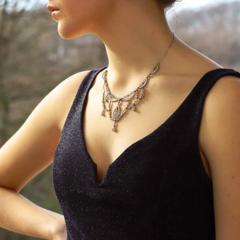 Edwardian Diamond Filigree Necklace in Platinum