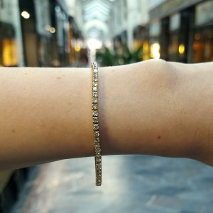 3.50ct Diamond Line Bracelet in 18K Yellow Gold