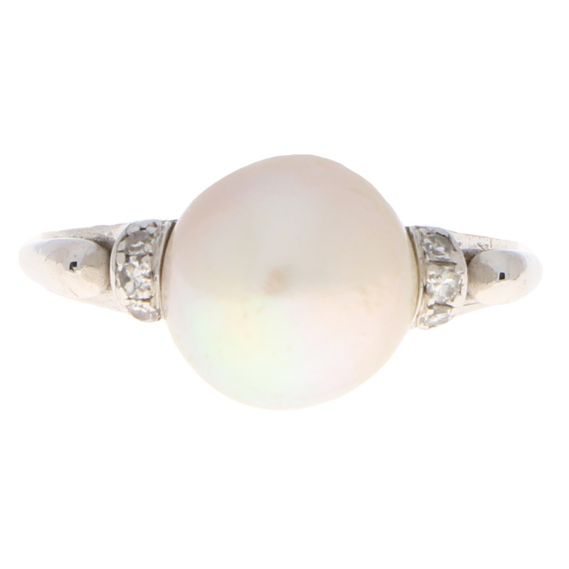 Art Nouveau Inspired Natural Pearl and Diamond Ring