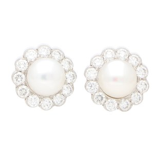 Diamond and White Pearl Cluster Earrings