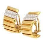 Vintage 1970's Diamond Half Hoop Clip Earrings