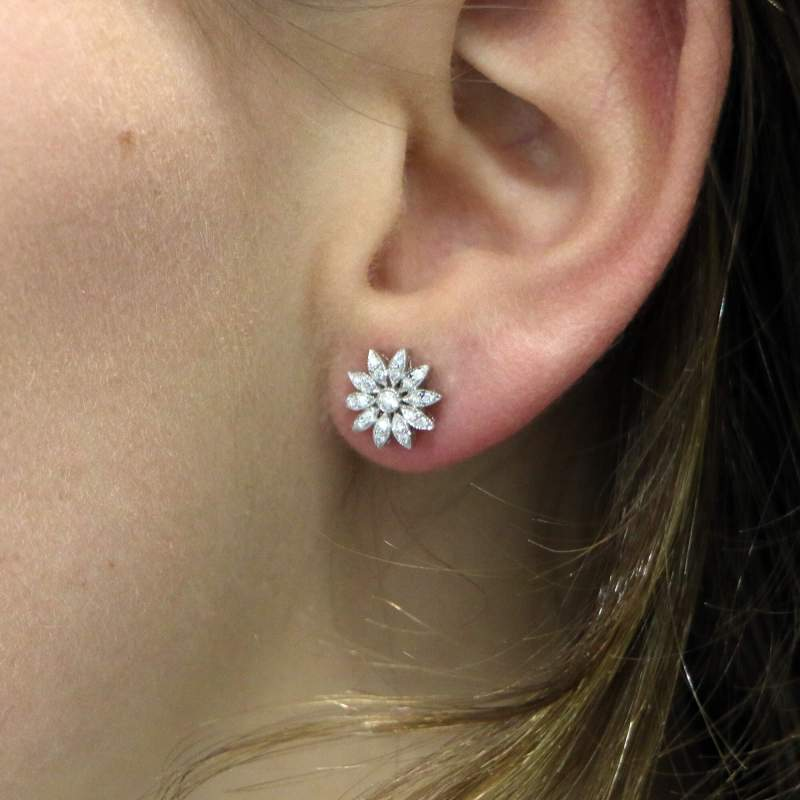 Diamond Cluster Daisy Stud Earrings