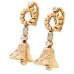 Victorian Old Cut Diamond Bell Drop Earrings, Circa 1900