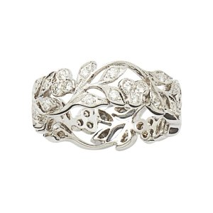18ct white gold diamond filigree floral eternity band