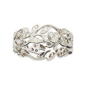 18ct white gold diamond filigree floral eternity band