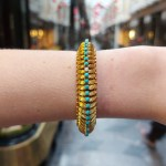 Vintage 1960s Turquoise and Diamond Bracelet in Yellow Gold