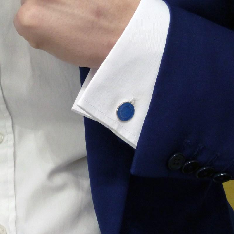 Circular enamelled blue cufflinks