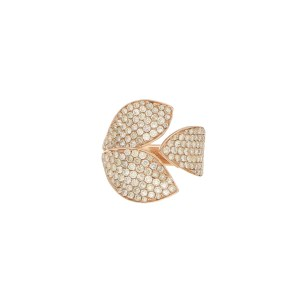 Diamond Leaf Ring in Rose Gold