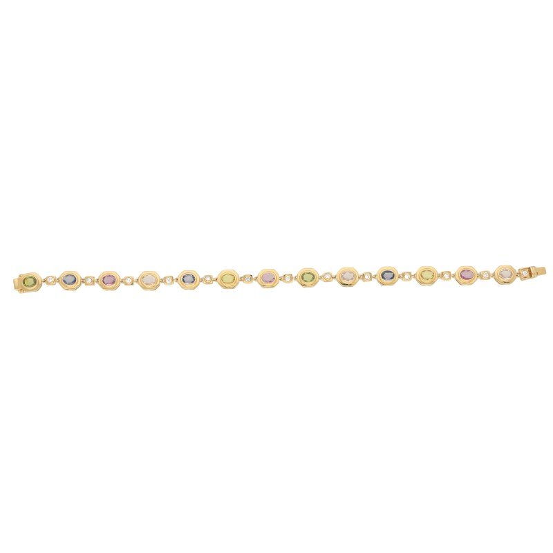 Yellow Gold Rainbow Sapphire and Diamond Bracelet