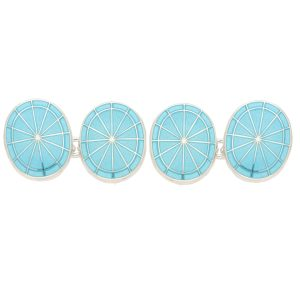Men's light blue enamel chain link cufflinks in sterling silver