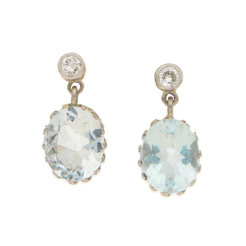 Edwardian Aquamarine and Diamond Drops