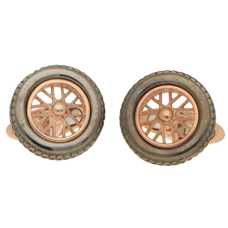 Men's articluated wheel cufflinks in sterling silver