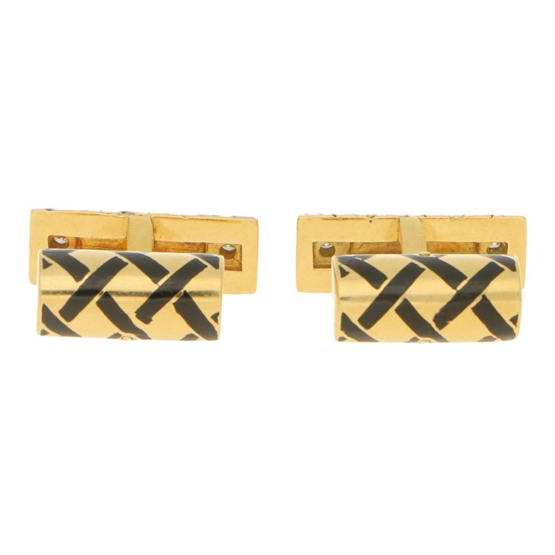 Tiffany Diamond and Black Enamel Cufflinks in Yellow Gold