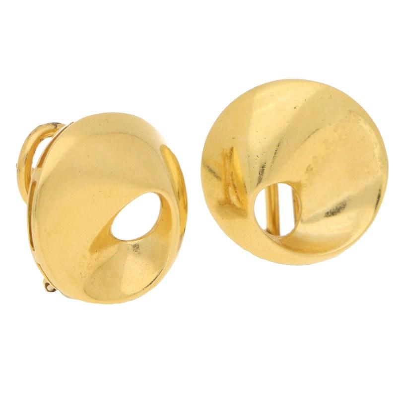 Vintage Fancy Swirl Circular Earrings in Yellow Gold, Italian